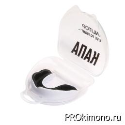 Капа для карате детская одночелюстная белая с чёрным