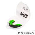 Капа для карате детская одночелюстная чёрная с зелёным