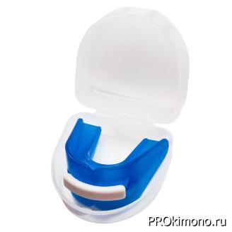 Капа для карате двучелюстная синяя вставка белая
