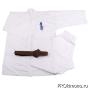 Кимоно для карате Киокушинкай молочное кандзи синий рост 180-185