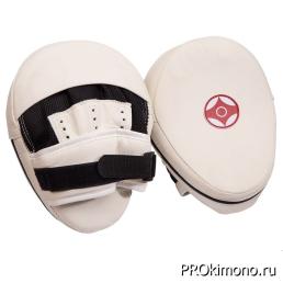 Лапа для карате Киокушинкай белая канку красный искусственная кожа