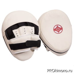 Лапа для карате Киокушинкай белая канку красный натуральная кожа