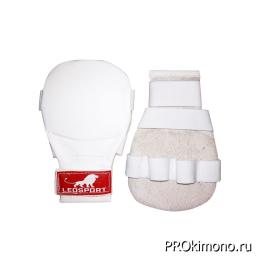 Накладки детские для карате белые натуральная кожа