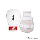 Накладки детские для карате Киокушинкай белые кандзи черный натуральная кожа