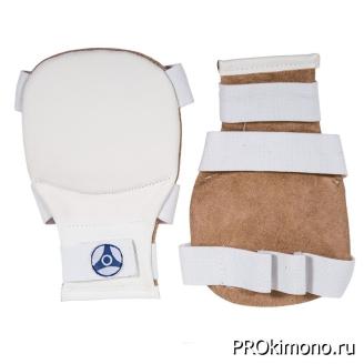 Накладки детские для карате Кёкусин-кан белые канку синий натуральная кожа