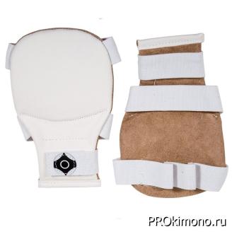 Накладки для карате Киокушинкай белые канку черный натуральная кожа
