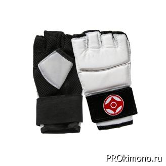 Перчатки детские для карате Киокушинкай открытые белые канку красный искусственная кожа