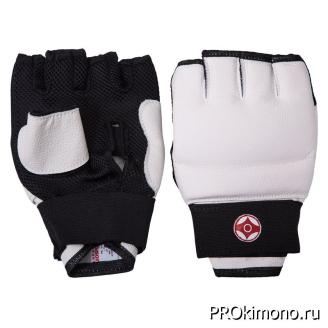 Перчатки детские для карате Киокушинкай открытые белые канку красный натуральная кожа