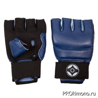 Перчатки детские для карате Киокушинкай открытые синие канку черный натуральная кожа
