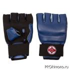Перчатки детские для карате Киокушинкай открытые синие канку красный искусственная кожа
