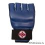 Перчатки детские для карате Киокушинкай открытые синие канку красный натуральная кожа