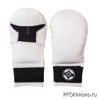 Перчатки детские для карате Киокушинкай закрытые белые канку черный натуральная кожа