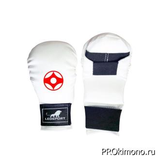 Перчатки детские для карате Киокушинкай закрытые белые канку красный искусственная кожа