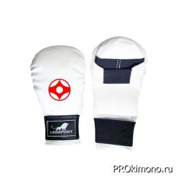 Перчатки детские для карате Киокушинкай закрытые белые канку красный натуральная кожа