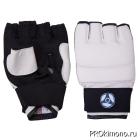 Перчатки детские для карате Кёкусин-кан открытые белые канку синий искусственная кожа