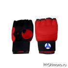 Перчатки детские для карате Кёкусин-кан открытые красные канку синий натуральная кожа