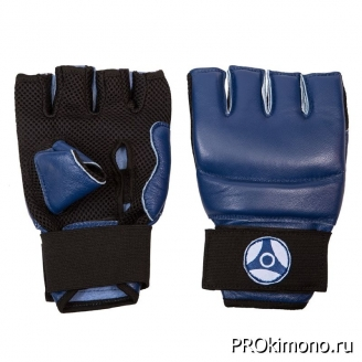 Перчатки детские для карате Кёкусин-кан открытые синие канку синий искусственная кожа