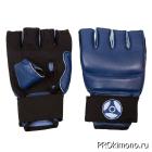 Перчатки детские для карате Кёкусин-кан открытые синие канку синий натуральная кожа