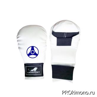 Перчатки детские для карате Кёкусин-кан закрытые белые канку синий искусственная кожа