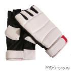 Перчатки детские для карате открытые белые-черные натуральная кожа