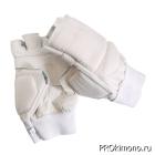 Перчатки детские для карате открытые белые натуральная кожа