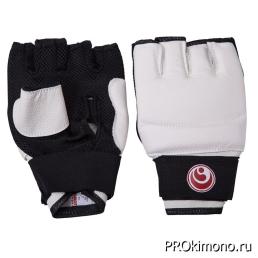 Перчатки детские для карате Шинкиокушинкай открытые белые кокоро красный искусственная кожа