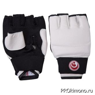 Перчатки детские для карате Шинкиокушинкай открытые белые кокоро красный натуральная кожа