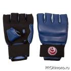 Перчатки детские для карате Шинкиокушинкай открытые синие кокоро красный натуральная кожа