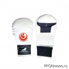Перчатки детские для карате Шинкиокушинкай закрытые белые кокоро красный натуральная кожа