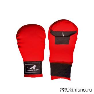 Перчатки детские для карате закрытые красные натуральная кожа