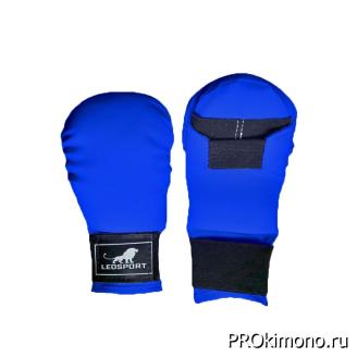 Перчатки детские для карате закрытые синие натуральная кожа