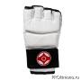Перчатки для карате Киокушинкай открытые белые канку красный искусственная кожа
