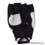 Перчатки для карате Киокушинкай открытые белые канку красный натуральная кожа