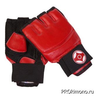 Перчатки для карате Киокушинкай открытые красные канку красный натуральная кожа