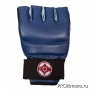 Перчатки для карате Киокушинкай открытые синие канку красный искусственная кожа
