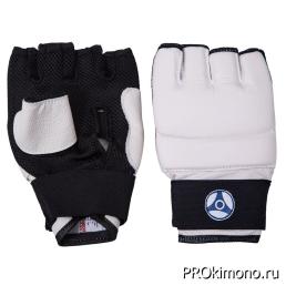 Перчатки для карате Кёкусин-кан открытые белые канку синий искусственная кожа