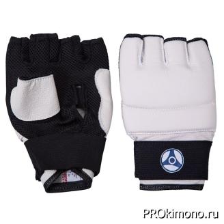 Перчатки для карате Кёкусин-кан открытые белые канку синий натуральная кожа XL