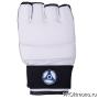 Перчатки для карате Кёкусин-кан открытые белые канку синий натуральная кожа