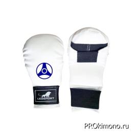 Перчатки для карате Кёкусин-кан закрытые белые канку синий искусственная кожа