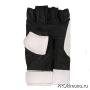Перчатки для карате открытые белые-черные искусственная кожа