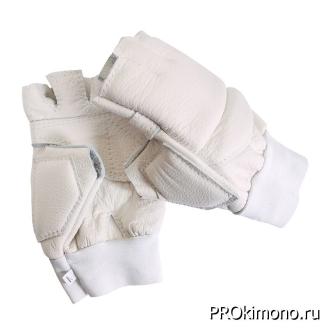 Перчатки для карате открытые белые натуральная кожа