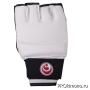 Перчатки для карате Шинкиокушинкай открытые белые кокоро красный натуральная кожа