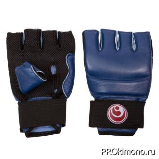 Перчатки для карате Шинкиокушинкай открытые синие кокоро красный натуральная кожа