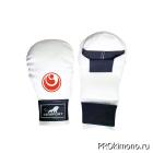 Перчатки для карате Шинкиокушинкай закрытые белые кокоро красный искусственная кожа