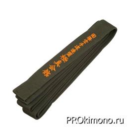 Пояс детский для карате Киокушинкай коричневый с вышивкой IKO