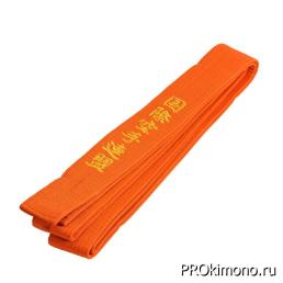 Пояс детский для карате Киокушинкай оранжевый с вышивкой IFK