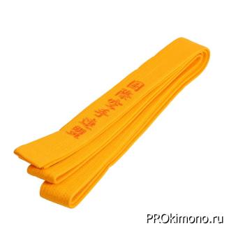 Пояс детский для карате Киокушинкай желтый с вышивкой IFK