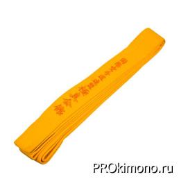 Пояс детский для карате Киокушинкай желтый с вышивкой IKO