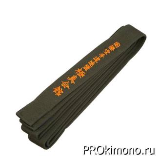 Пояс для карате Киокушинкай коричневый с вышивкой IKO