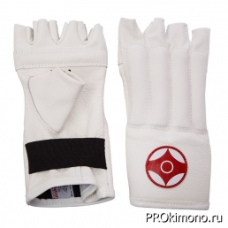 Шингарты детские для карате Киокушинкай открытые белые канку красный искусственная кожа